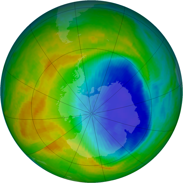 Antarctic ozone map for 21 October 2004